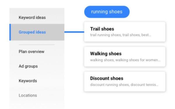 idees groupees keyword planner