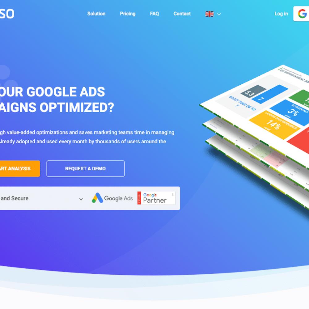 T : Optimisez ses campagnes Google Ads, c'est facile et rapide avec Seiso. Un outil d'audit GRATUIT pour vos campagnes SEA, signé JVWEB. Pour commencer, nos experts vous livrent les 5 piliers de l'optimisation. Prêt à tester ?